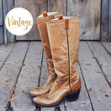 Vintage Taupe Stitch Boots: Alternate View #1