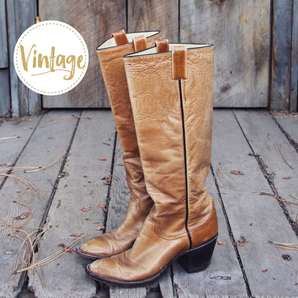 Vintage Taupe Stitch Boots: Featured Product Image