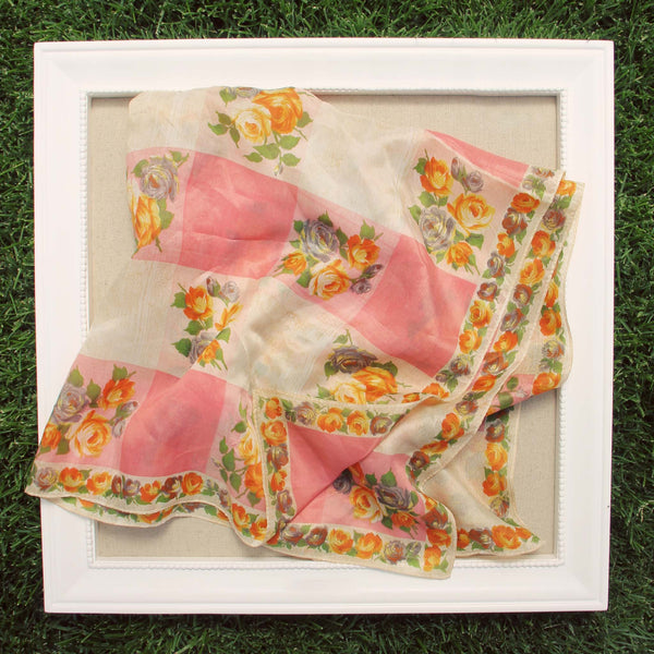 Vintage 60's Rose Scarf: Featured Product Image