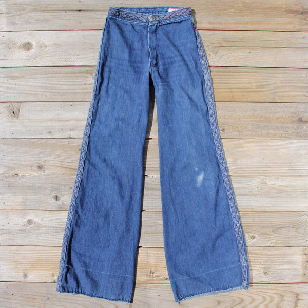 Vintage 70's Braided Jeans: Featured Product Image