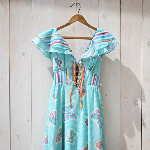 Vintage 70's Mint Butterfly Maxi Dress: Featured Product Image