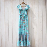 Vintage 70's Mint Butterfly Maxi Dress: Alternate View #4