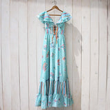 Vintage 70's Mint Butterfly Maxi Dress: Alternate View #2