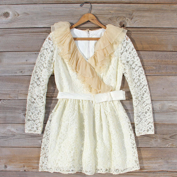 Vintage 70's Lace & Chiffon Dress: Featured Product Image