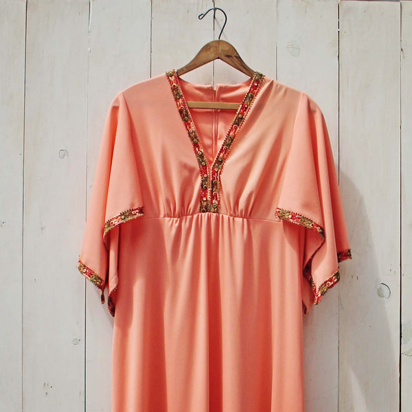 Vintage 70's Peach Maxi Dress: Featured Product Image