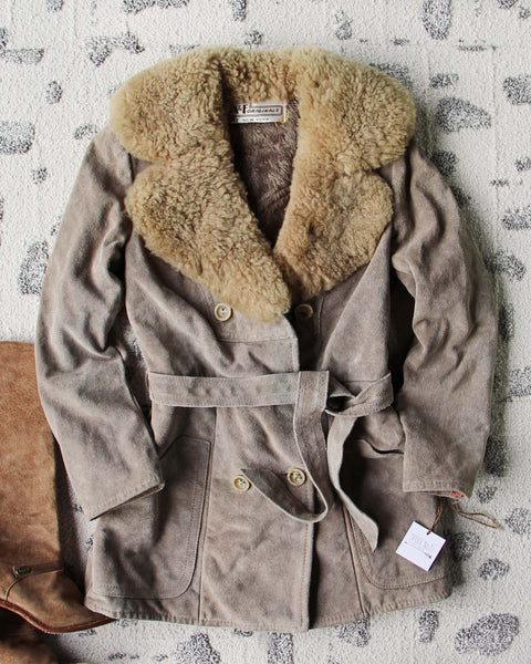 Vintage 70's Shearling & Suede Coat: Featured Product Image