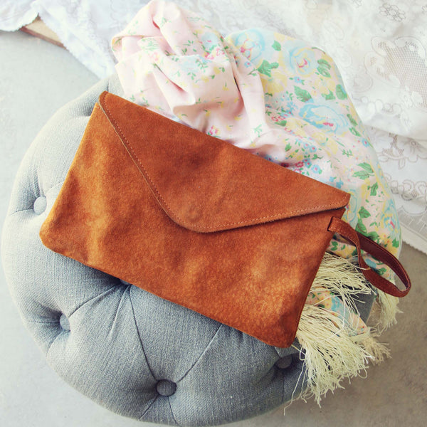 Vintage 70's Suede Clutch: Featured Product Image