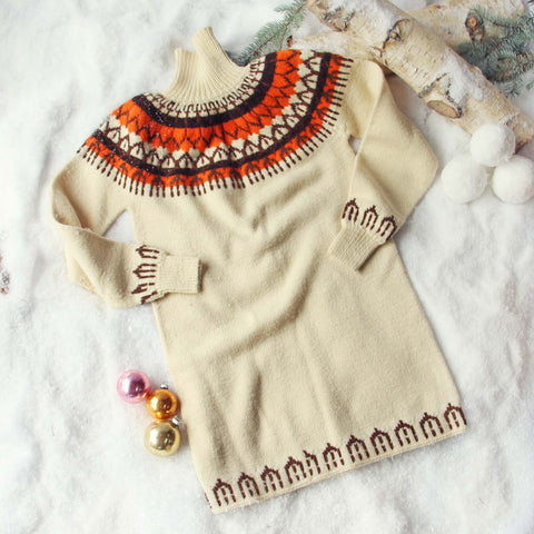 Vintage Fair Isle Knit Sweater Dress
