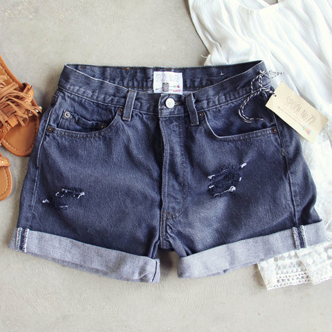 Vintage Black Cuffed Shorts