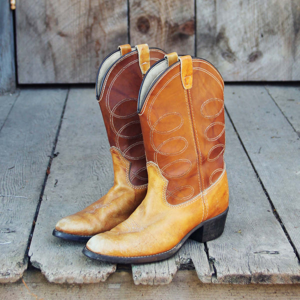 Vintage Caramel Stitch Boots: Featured Product Image