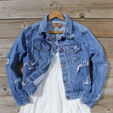 Vintage Distressed Jean Jacket: Alternate View #1