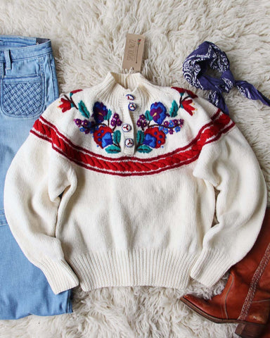 Vintage Floral Soft Sweater