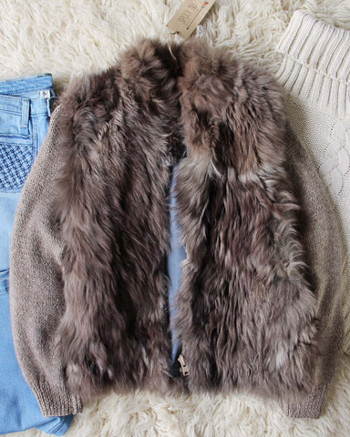 Vintage Fur Knit Sweater Coat