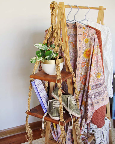 Vintage Macrame Hanging Shelf