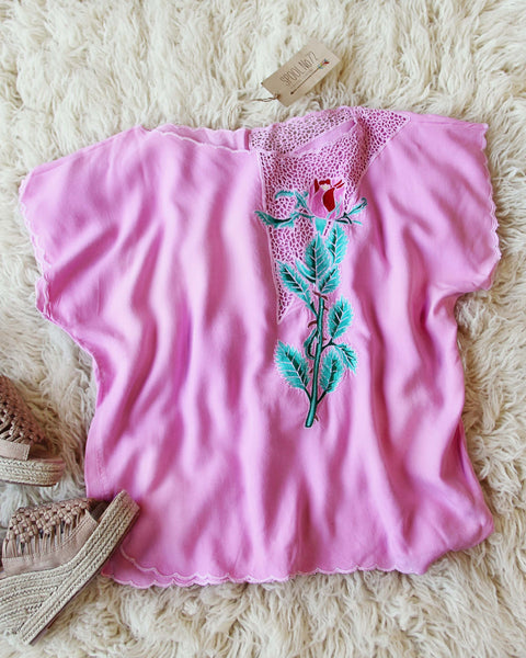 Vintage Pink Mexican Embroidered Top: Featured Product Image