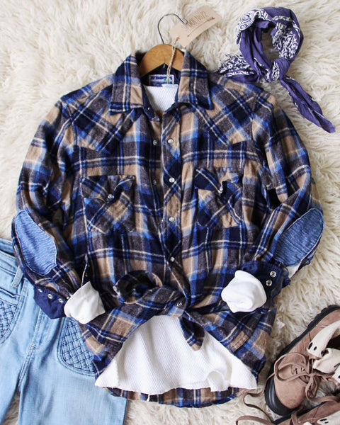 Sweet Plaid + Patch Vintage Shirt: Featured Product Image