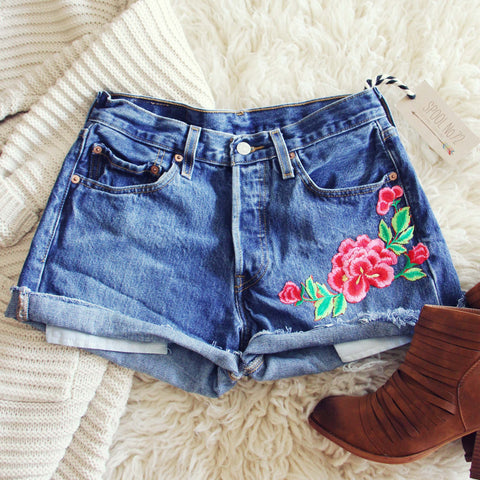 Vintage Cuffed Rose Shorts