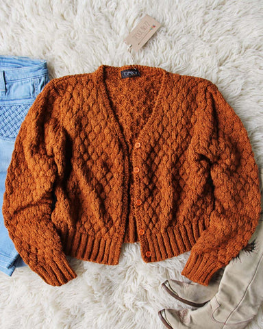 Vintage 70's Rust Nubby Knit Sweater