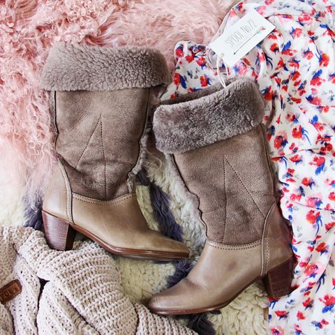 Vintage Shearling & Suede Boots