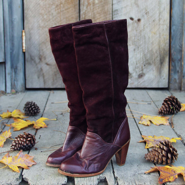 Vintage Burgundy Zodiac Boots: Featured Product Image