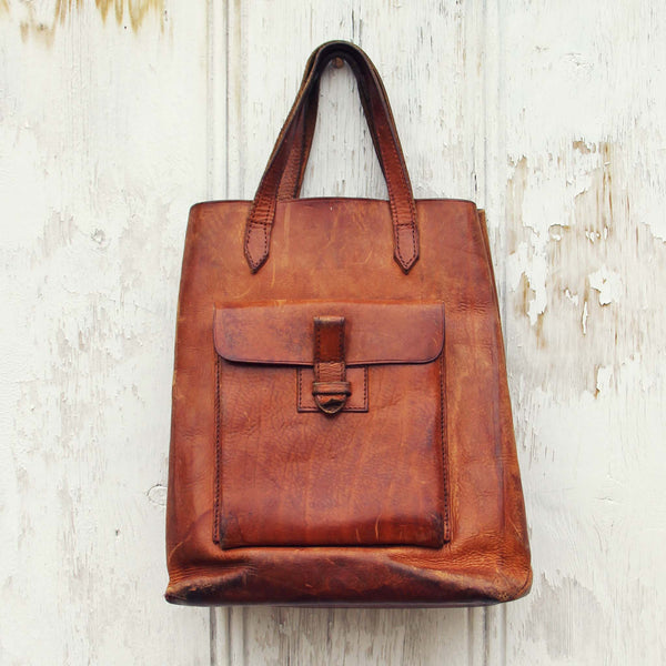 Vintage 70's Leather Tote: Featured Product Image