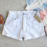Vintage Cuffed Jean Shorts- White: Alternate View #1