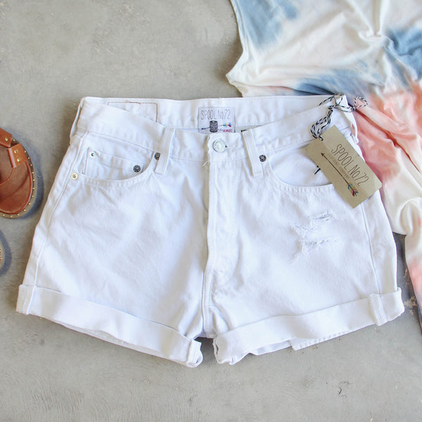 Vintage Cuffed Jean Shorts- White: Featured Product Image