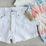 Vintage Cuffed Jean Shorts- White: Alternate View #2