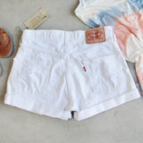 Vintage Cuffed Jean Shorts- White: Alternate View #3