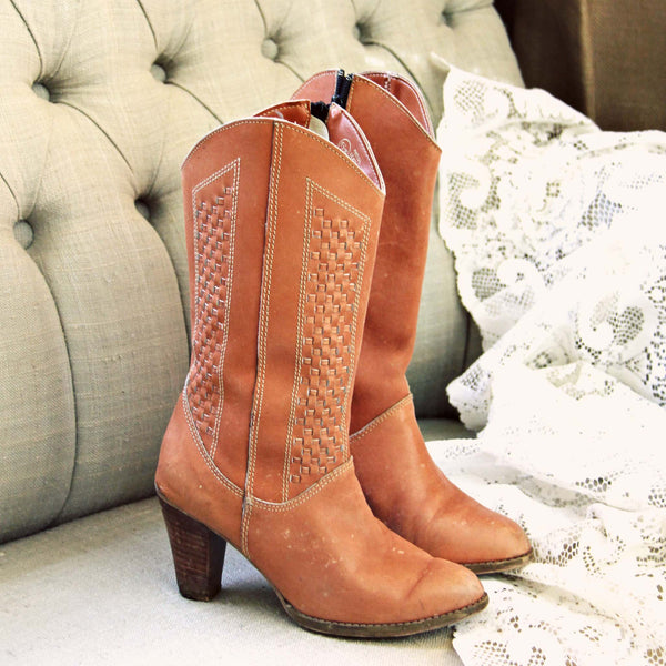 Vintage Woven Honey Boots: Featured Product Image