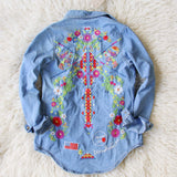 Wanderlust Embroidered Denim Top: Alternate View #1