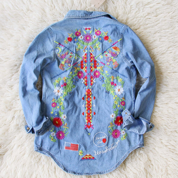 Wanderlust Embroidered Denim Top: Featured Product Image
