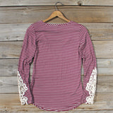 Sleepy Creek Lace Tee in Burgundy: Alternate View #4