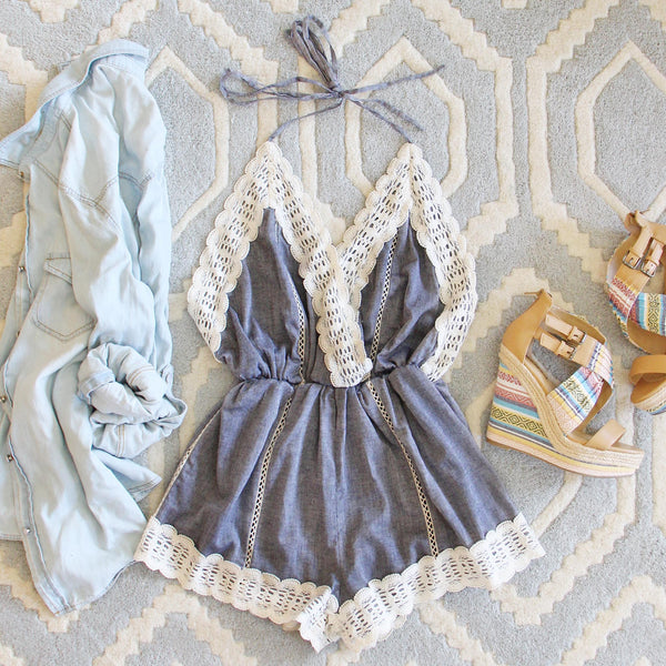 Whiskey & Rye Romper in Chambray: Featured Product Image