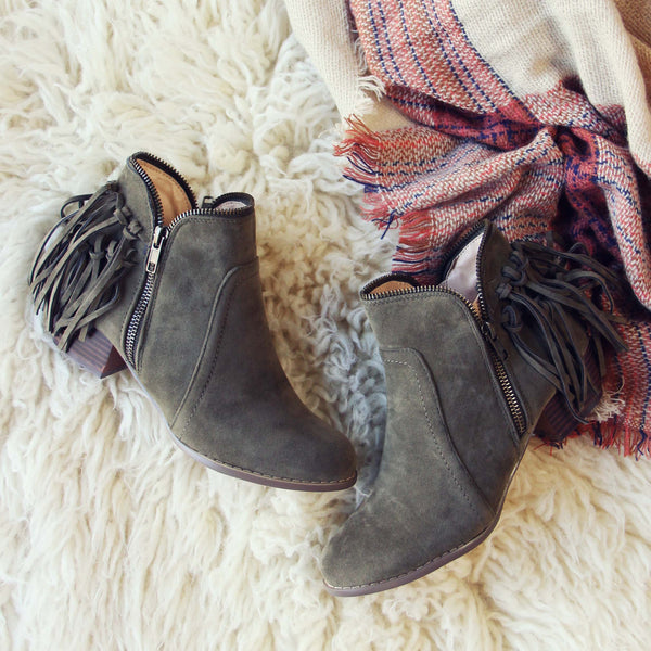 Wild Olive Fringe Booties: Featured Product Image
