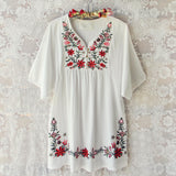 Wild Roses Dress in White (wholesale): Alternate View #1