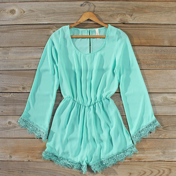 Wintertide Lace Romper in Mint: Featured Product Image