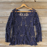 Winterly Lace Blouse in Navy: Alternate View #1