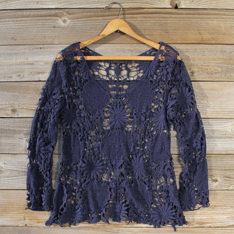 Winterly Lace Blouse in Navy