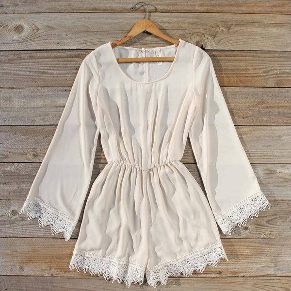 Wintertide Lace Romper in Cream: Featured Product Image