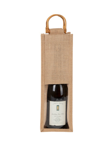 JB2110 - 1 Bottle Jute Bag, Cane handle, window
