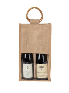 JB2210 - 2 Bottle Jute Bag Cane Handle, window