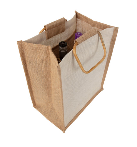 JB2610 - 6 Bottle Jute Bag Cane Handle