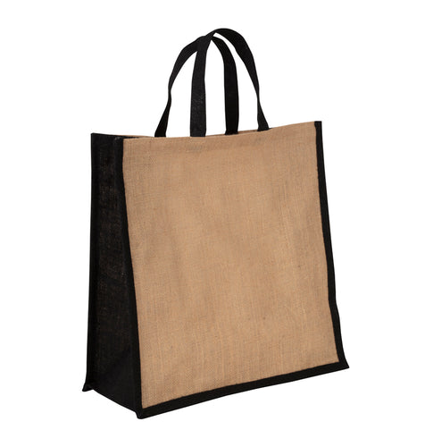 JB6005 - Jute Large Carry Bag - Natural / Black