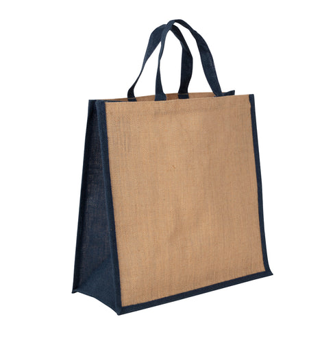 JB6010 - Jute Large Carry Bag - Natural / Blue