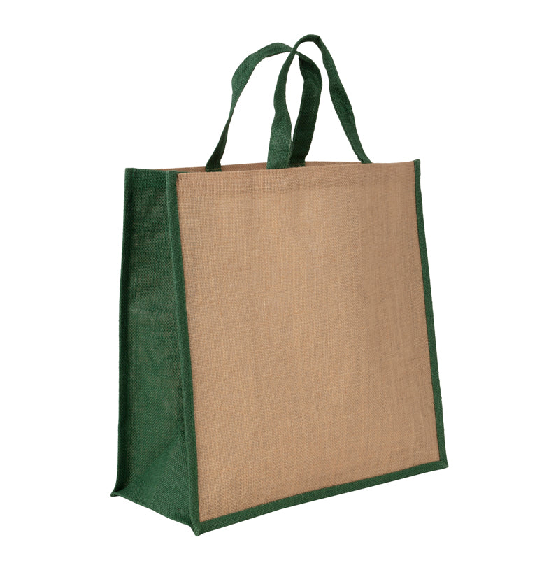 JB6015 - Jute Large Carry Bag - Natural / Green