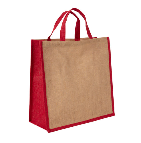 JB6025 - Jute Large Carry Bag - Natural / Red