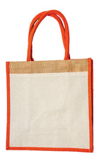 Load image into Gallery viewer, JB6113 - Jute Cotton Pocket Bag - Natural / Orange