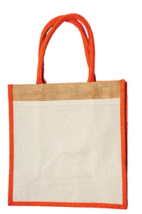 JB6113 - Jute Cotton Pocket Bag - Natural / Orange