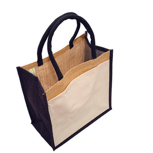 JB6114 - Jute Cotton Pocket Bag - Natural / Black